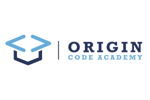 origin code academy logo which is their name and a pair of angle brackets made to look like a mortarboard hat in various shades of blue.