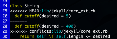 screenshot of the command line displaying a merge conflict