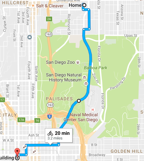 a Google Maps route for bicycles from Hillcrest, San Diego through Balboa Park to downtown San Diego