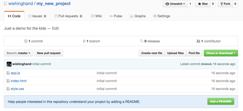 Github's page for your newly created repo