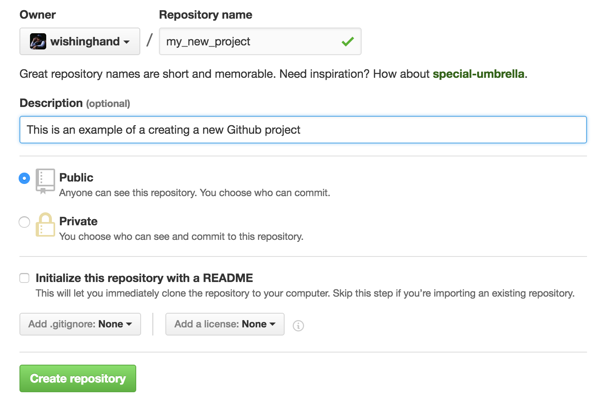 Github's web interface for creating a new repo