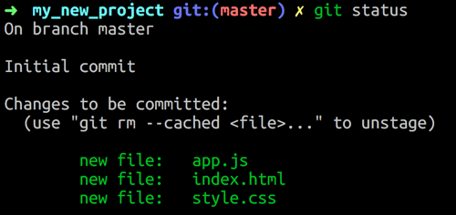 command line git showing staged file changes